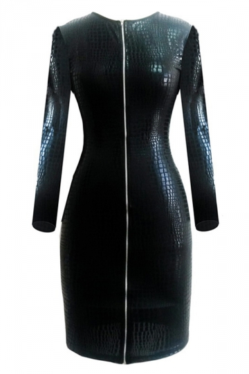 Black Chic Ladies Snake Skin Crew Neck Zip Leather Dress
