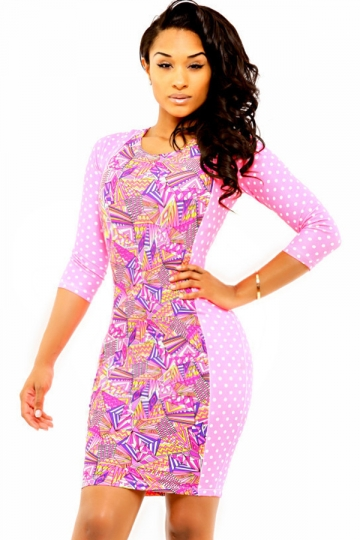 Pink Ladies Chic Polka Dot Half Sleeves Cute Printed Bodycon Dress