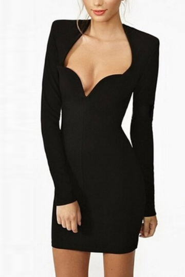 Black Long Sleeves Irregularly Neck Back Cross Straps Bandage Dress