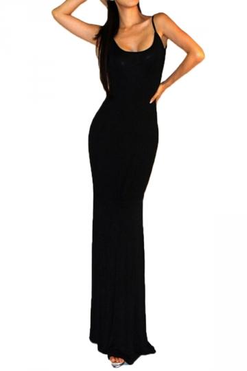 Black Elegant Womens Long Sleeve Crew Neck Plain Cut Out Maxi Dress