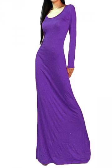 Purple Elegant Womens Long Sleeve Crew Neck Plain Cut Out Maxi Dress