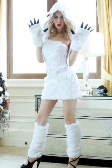 White Womens Polar Bear Fancy Halloween Dress Costume
