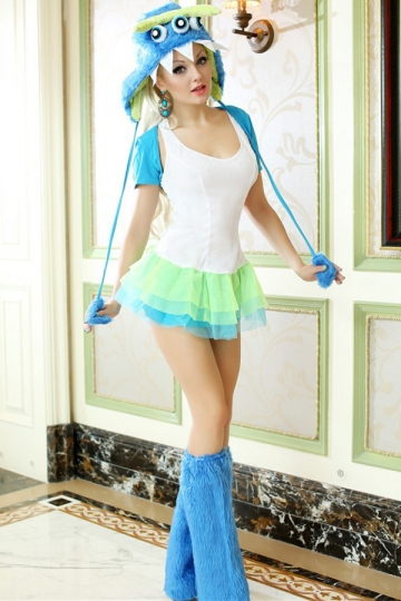 Blue Sexy Womens Cute Furry Halloween Monster Costume