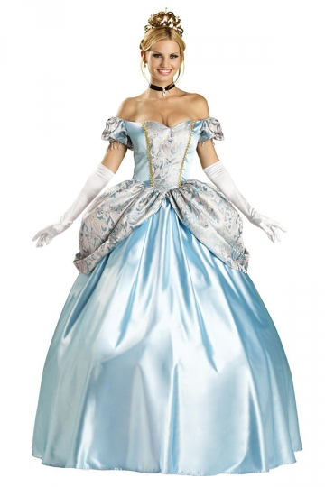 Womens Elegant Cinderella Fairytale Halloween Costume Blue