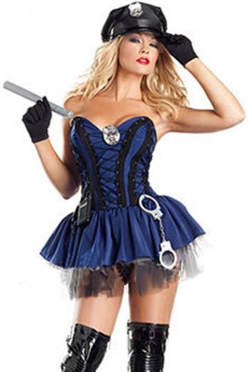 Blue Cop Sexy Womens Police Halloween Fancy Costume