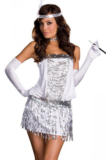 White Womens Sexy Elegant Flapper Dance Halloween Costume