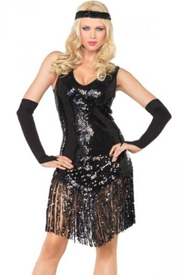 Black Sexy Gatsby Halloween Girls Flapper Dance Costume