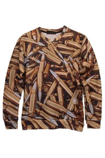 Khaki Womens Endless Bullets Printed Pullover Crew Neck Sweatshirt