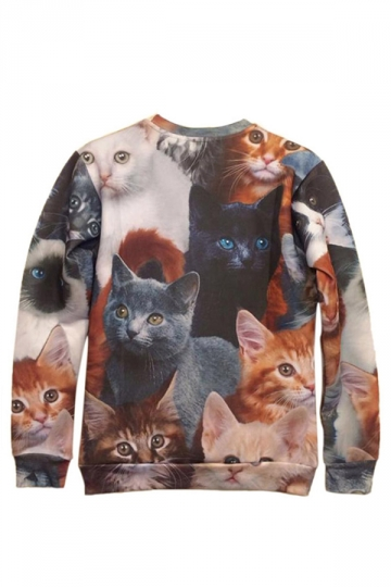 Brown Womens lovely Cats Printed Crew Neck Pullover Sweatshirt