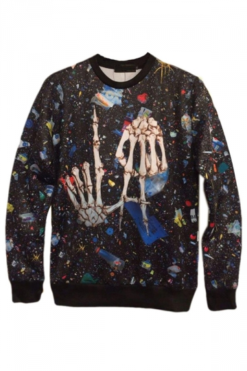 Black Crazy Womens Pullover Skeleton Hands Printed Galaxy Sweatshirt