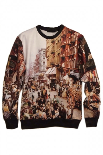 Khaki Retro Ladies Streetscape Printed Crew Neck Jumper Sweatshirt