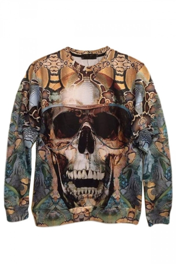 Blue Trendy Ladies Horror Skull Printed Pullover Sweatshirt