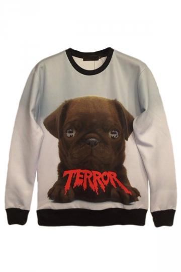 White Simple Crew Neck Jumper Pug Printed Womens Sweatshirt