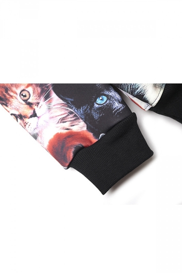 Black Cute Women Cat Crew Neck Pullover Printed Sweatshirt