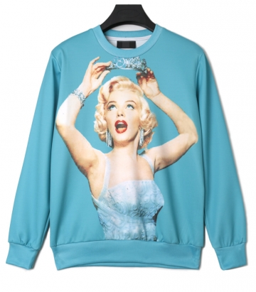 Blue Chic Crew Neck Marilyn Monroe Printed Ladies Jumper Sweatshirt