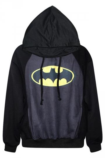 Black Simple Womens Bat Printed Halloween Pullover Hoodie