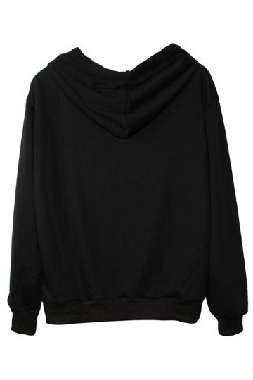 Black Trendy Womens Zombie Hand Printed Pullover Hoodie