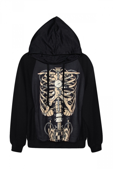 Black Cool Womens Robot Skeleton Printed Jumper Hoodie