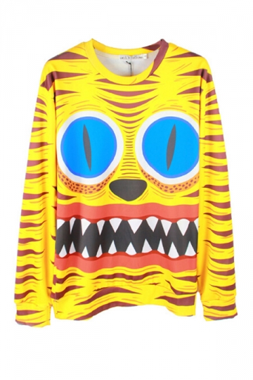 Yellow Chic Ladies Jumper Tiger SpongeBob Printed Sweatshirt