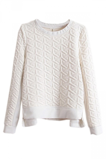 White Elegant Womens Double Zippers Pullover Sweatshirt