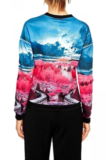 Blue 3D Ladies Chic Scenery Printed Crew Neck Pullover Sweatshirt