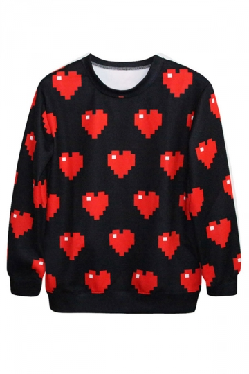 Black Crew Neck Long Sleeves Mosaic Hearts Printed Sweatshirt