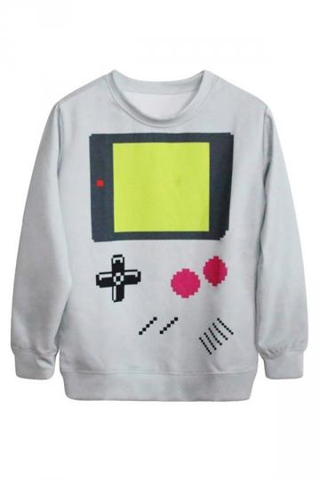 Gray Womens Long Sleeves Cute 3D Calculator Printed Jumper Sweatshirt