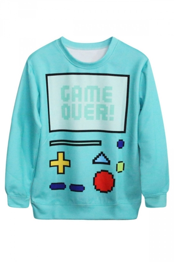 Blue 3D Ladies Robot Printed Pullover Crew Neck Sweatshirt