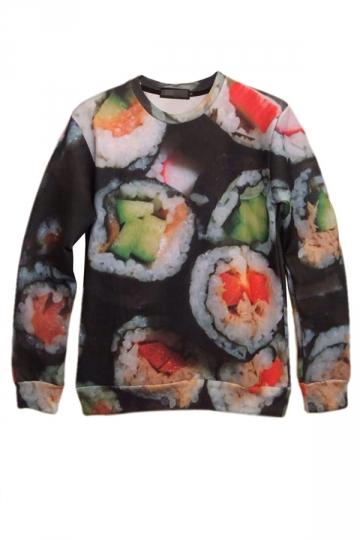 Black Fashion Ladies Pullover Tasty Sushi Printed Sweatshirt