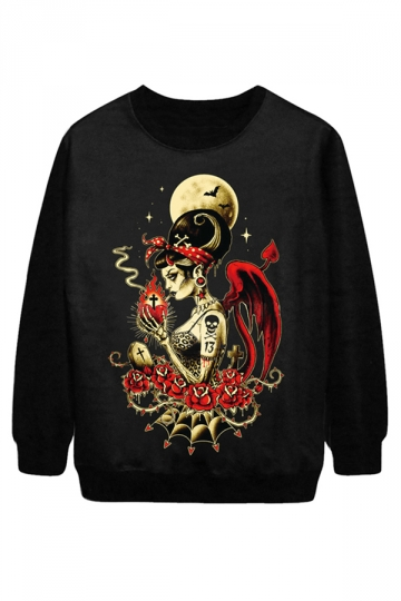 Black Cool Ladies Smoke Beauty Printed Jumper Halloween Sweatshirt