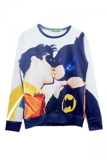 White Sexy Ladies Jumper Kiss Batman Printed Sweatshirt