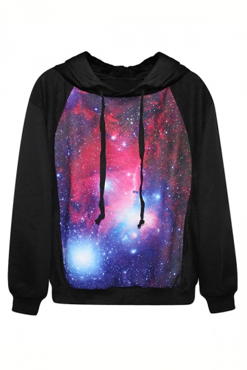 Black Classic Galaxy Ladies Long Sleeves Fancy Hoodie