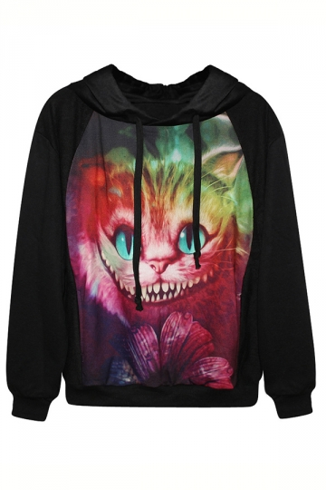 Black Colorful Cat Printed Ladies Funny Halloween Pullover Hoodie