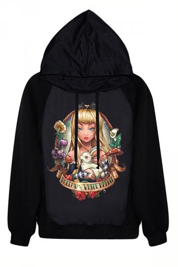 Black Long Sleeves Wonderland Alice Printed Ladies Halloween Hoodie