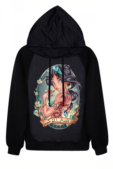 Black Pullover Halloween Womens Chic Princess Printed Hoodie