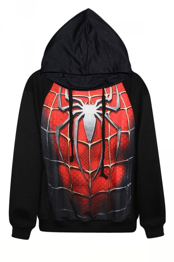 Black Spider Man Printed Womens Long Sleeves Fashion Halloween Hoodie