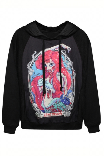 Black Horror The Little Mermaid Long Sleeves Halloween Hoodie