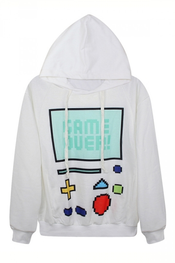 White Womens Chic Game Over Printed Pullover Hoodie