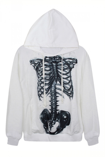White Classic Womens Skeleton Printed Long Sleeves Hoodie