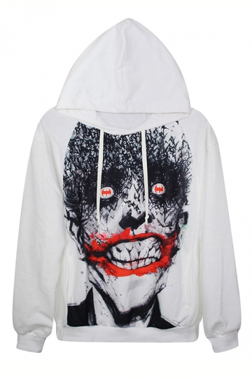 White Ladies Scary Ghost Face Printed Pullover Long Sleeves Hoodie
