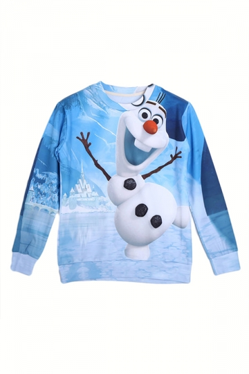 Blue Cute Womens Frozen Olaf Printed Long Sleeves Pullover Sweatshirt