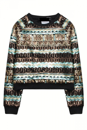 Gold Womens Colorful Sequins Classic Printed Jumper Sweatshirt