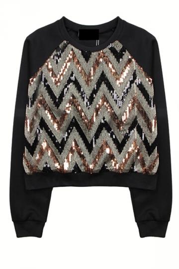 Gold Wavy Sequins Ladies Printed Pullover Crew Neck Sweatshirt