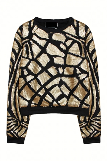 Gold Ladies Fashion Craquelure Pullover Sequins Crew Neck Sweatshirt
