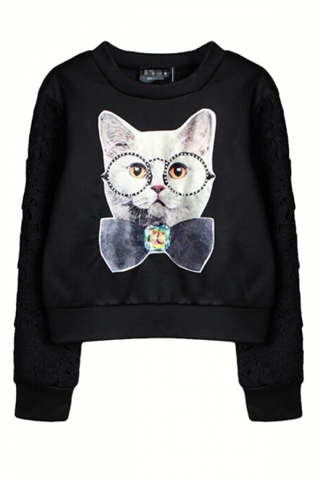 Black 3D Cat Printed Cute Womens Long Sleeves Pullover Sweatshirt ...