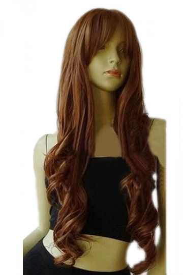 Brown Classic Womens Long and Curly Hair Wig