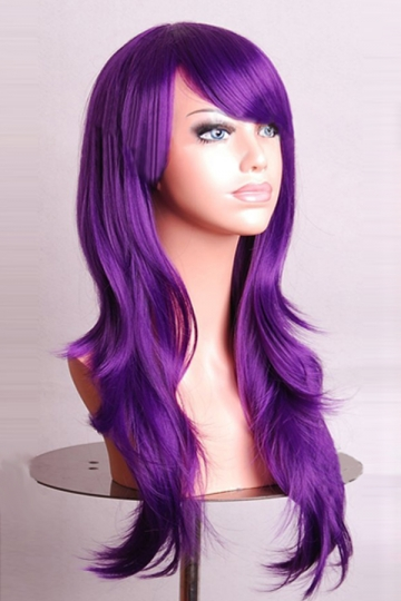 Purple Fashion Cosplay Ladies Sexy Long Waves Hair Wig