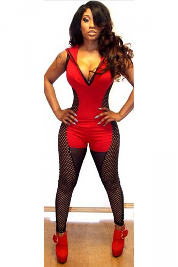 Red Cool Ladies Sleeveless Fishnet Hoody Patchwork Romper
