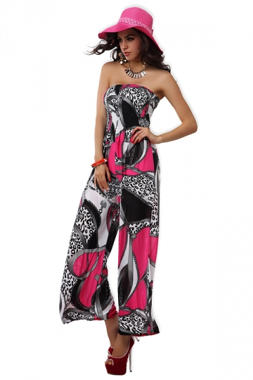 Rose Red Elegant Ladies Floral Wide-leg Strapless Tube Jumpsuit