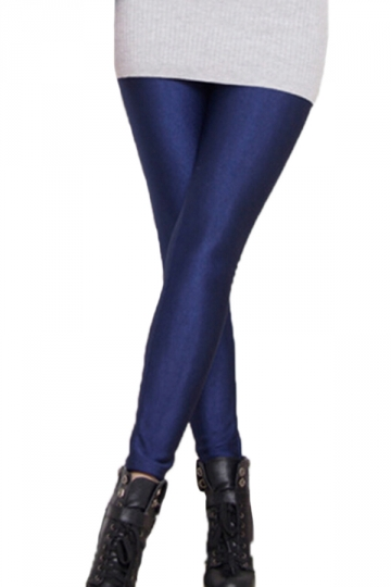 Navy Blue Womens Sexy Neon Lined Liquid Leggings - PINK QUEEN
